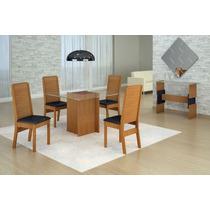 Mesa Madeira+vidro Quatro Cadeira