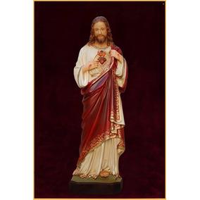 Imagem Sagrado Coração De Jesus 31 Cm Em Resina Com Aureola