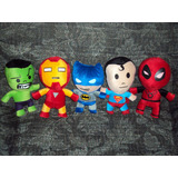 Lote De 5 Peluches Superheroes Deadpool Batman Hulk Superman