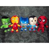 Lote D 5 Peluches Superheroes Envio Gratis Batman Ironman Et