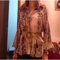 Camisa Seda Pura Animal Print Rosa E Marrom Tam P