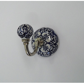 Cabide Cerâmica Azul Indiano Detalhado Com Branco