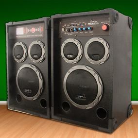 Par De Bafle Potenciado Entrada Usb-mic-sd-fm-karaoke