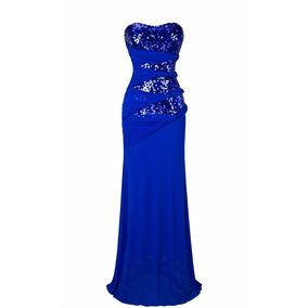 Vestido De Festa Azul Lantejoulas Importado Pronta Entrega
