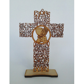 18 X Cruz Padre Nuestro 30 Cms. Comunion Mdf Laser Oración