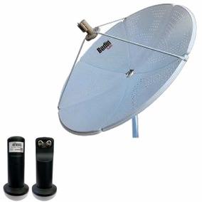 Kit Antena 1,50 Cm Chapa Banda Ku Bedin Sat + Lnbf Duplo