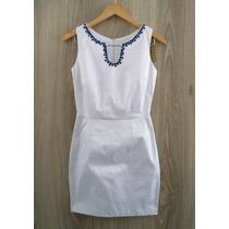 Vestido Agora Use - Branco Liso - C/pedrarias - C/elastano
