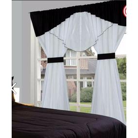 juego de cortinas ad paos bando blanco negro agartadera
