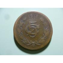 Antigua Moneda Año De 1918 De 5 Cnt. Grande Mexicana.