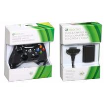 Kit Controle P/ Xbox360 Sem Fio Orig Feir + Carregador E Bat