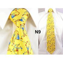 Gravata Vintage Amarela 100% Seda Pura Estampa Malabares N09