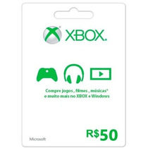 Cartão Xbox Live Card Gift Points Card R$50,00 Xbox 360 One