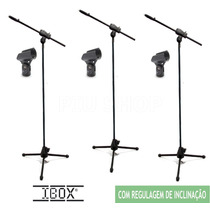 Kit 3 Pedestal Suporte Universal P Microfone Girafa+cachimbo