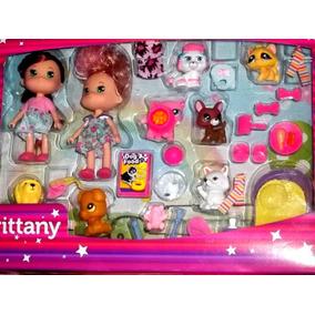 Set De Muñecas Brittany Con 7 Mascotas Y 22 Accesorios