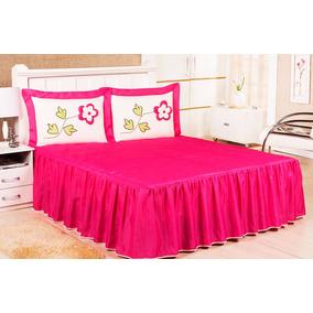 Kit Colcha Casal Fuxico Pink Florzinha Babado Barata 5 Pçs