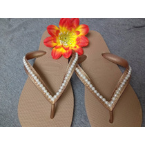 Chinelos Havaianas Bordadas Customizadas Perolas Aartesanato