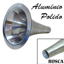 Corneta Cone Longo De Rosca Alumínio Polido Tipo Jarrão