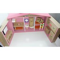 Casa Casinha De Boneca Barbie Polly Maleta + Moveis Grátis!!