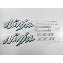 Kit Jogo Faixa Emblema Adesivo Kawasaki Zx-11 1994 Preta