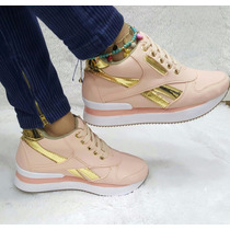 Zapato Bota Botín Tacón Interno Palo Rosa Dorado Moda Dama