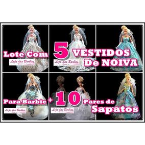 Lote * 5 Vestidos De Noiva P/ Barbie + 10 Pares De Sapatos !