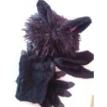 Disfraz Gato Negro Orejas En Peluca, Garras Y Cola De Piel !