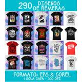 290 Diseños De Remeras Vectores Serigrafia Eps & Corel