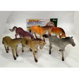 Kit Com 6 Animais Cavalos Selavagens De 15 Cm A 17 Cm