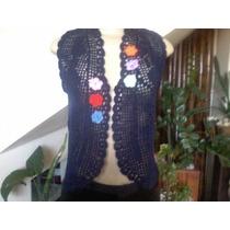 Colete Feminino Linha Acrílica Azul Marinho Em Crochê Tam.p.