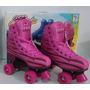 Patins Com 4 Rodas Roller Skate Fênix Nº 36-37 Rosa