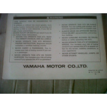 Yamaha Cuatri Yfm80e Manual Del Usuario Original !!!!!!!