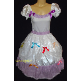 Vestido Noiva Junino Adulto Festa Junina Caipira Lilás/bco