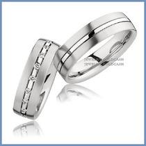 Argollas De Matrimonio Mod. Lavoissier Oro Blanco 10k Solido