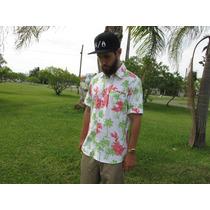Camisa Botão Trick$ Limited Estampada Floral Coqueiro Branco