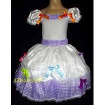 Vestido Junino Noiva Festa Junina Noivinha Caipira Bco/lilás