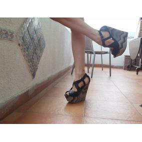 Hermosas Sandalias Negras Con Terraplen Nª 39 Nuevas