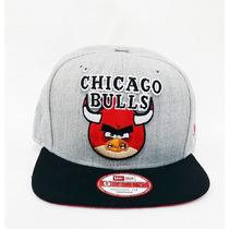 Boné Angry Birds Aba Reta Nba Chicago Bulls Snapback Aberto