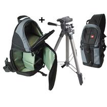 Mochila + Tripe 1 Metro Câmera Digital Nikon Sony Canon Dslr