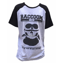 Camiseta Raglan Cinza Skull Homem