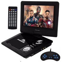 Dvd Portatil Tv Lcd Tela 9 Gira 270º Radio Fm Sd Usb Jogos