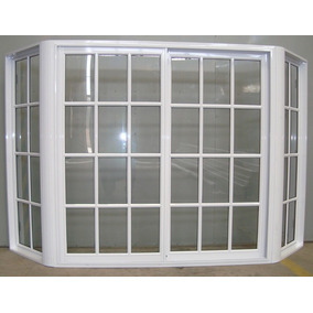 Ventana Bow Window Aluminio Blanco Repartido 150x150 + Rajas