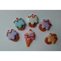 Apliques Cupcakes En Porcelana Fría X 15 U.