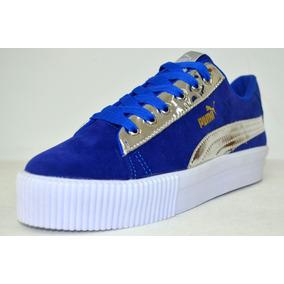 Zapatos Puma Deportivos Para Dama Azul Con Blanco