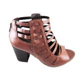 Open Boots Ramarim Marrom Couro Salto Médio - Cod:r50