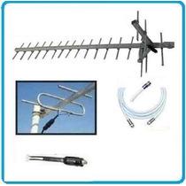Antena Tv Digital Hd Publica Tdt Tda Uhf 19e + 10 Mt Cable