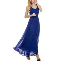 Vestido Longo Social Casual Azul Renda