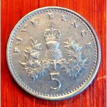 1990 - Inglaterra - 5 Pence - Cuproniquel