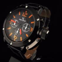 Relógio Masculino Grande V6 Laranja Preto - Cód. 052
