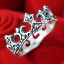 Anel Aliança Feminino De Prata 950 Coroa Rainha Mac007