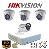 Kit Cctv Hikvision Turbo Hd Mini Dvr 4ch + 4 Cámaras Turbohd